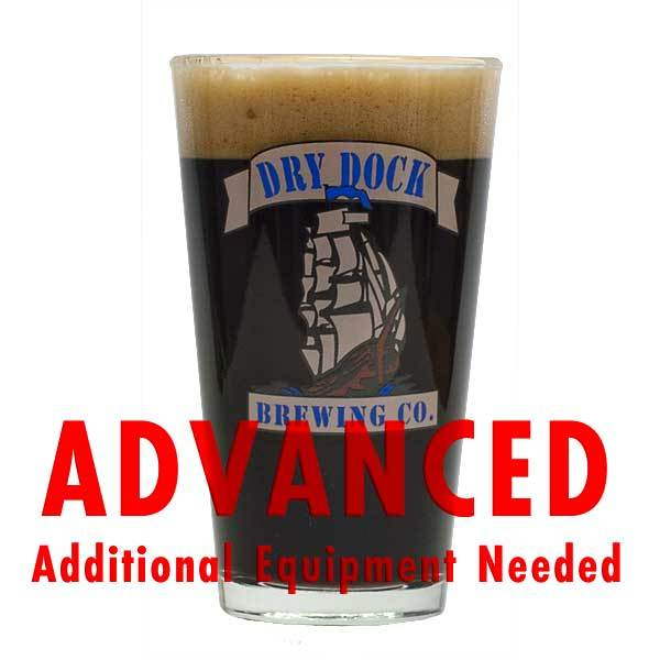 "Dry Dock Urca Vanilla Porter Pro Series homebrew in a Dry Dock glass with an All-Grain warning: ""Advanced, additional equipment needed"""
