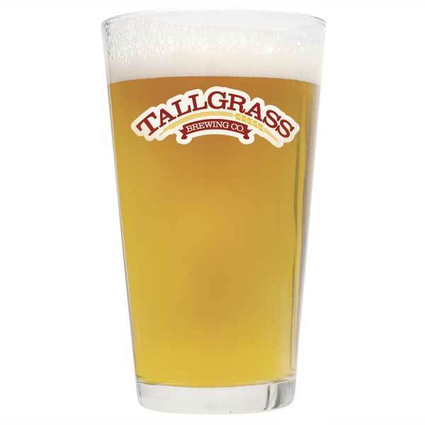 A full glass of Tallgrass Halcyon unfiltered wheat homebrew