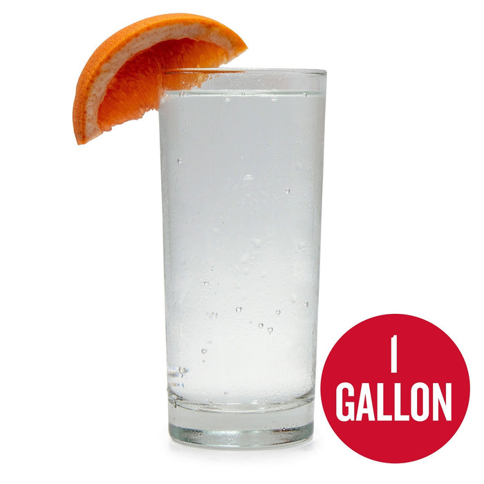 "1-Gallon Grapefruit Hard Seltzer homebrew in a glass with a grapefruit wedge. A red circle in the bottom contains the words ""1-gallon"""
