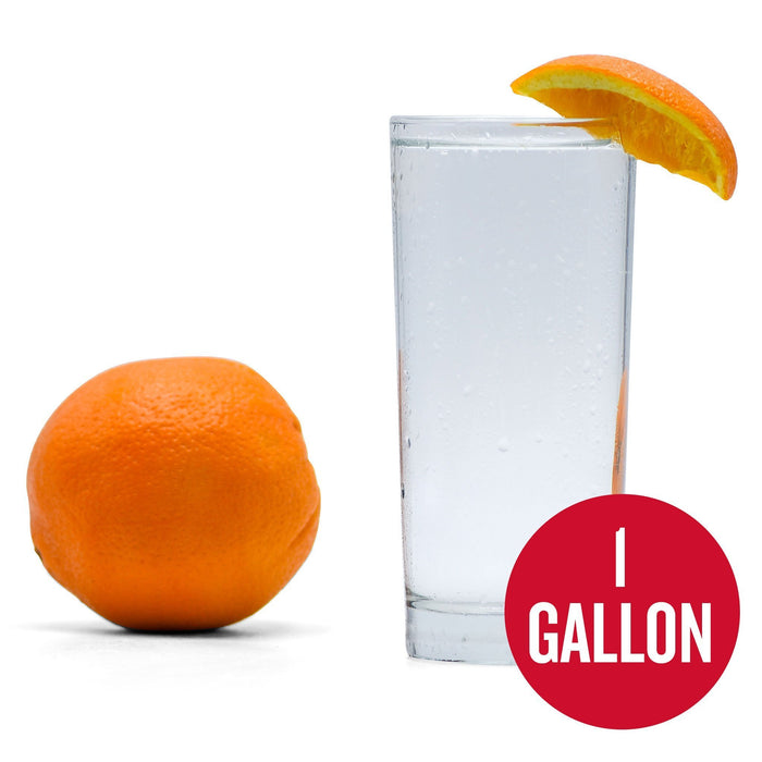 "Navel Orange Hard Seltzer in a glass with an orange wedge next to a whole orange. ""1-gallon"" written in a red circle at the bottom right"