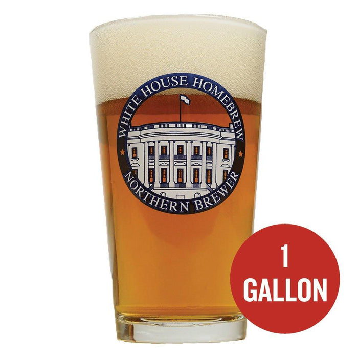 "Northern Brewer White House Honey Ale in a glass with ""one gallon"" written within a red circle"