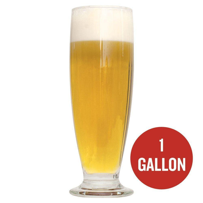 "Honey Country Pilsner in a glass beside a red circle with the following text written within it: ""1-gallon"""
