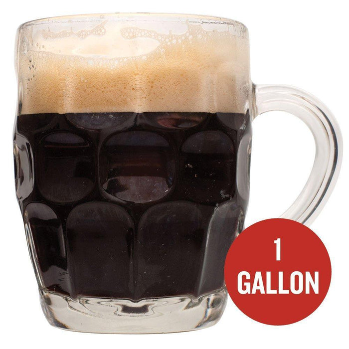 "Rum Runner Stout in a mug with a red circle containing the following text: ""1 Gallon"""