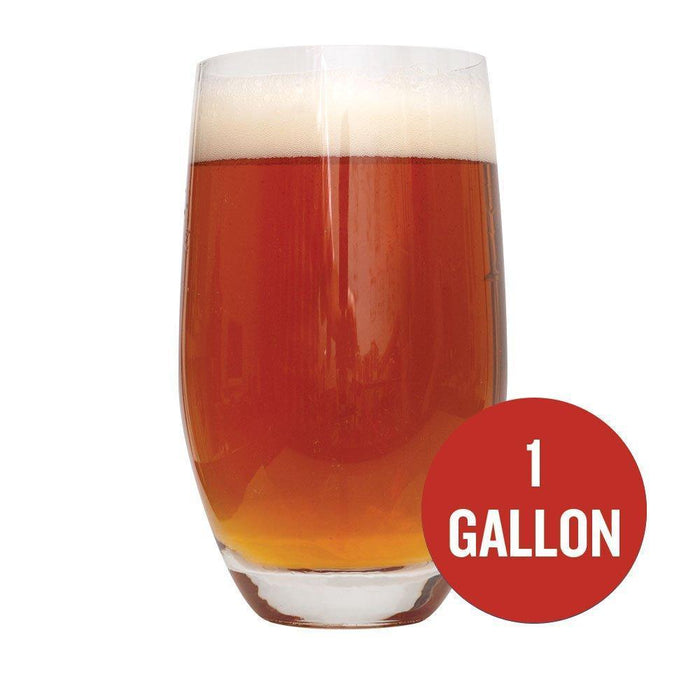 Glass filled with Smashing Pumpkin Ale with a red circle containing the following text: 1-gallon