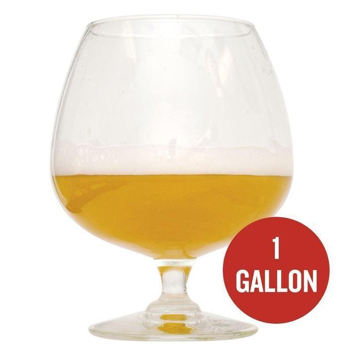 Belgian Tripel homebrew in a semi-filled glass with the following text: one gallon