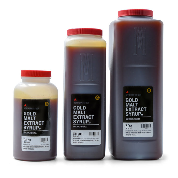 1.5-, 3.15-, and 6-pound containers of Briess gold malt extract syrup
