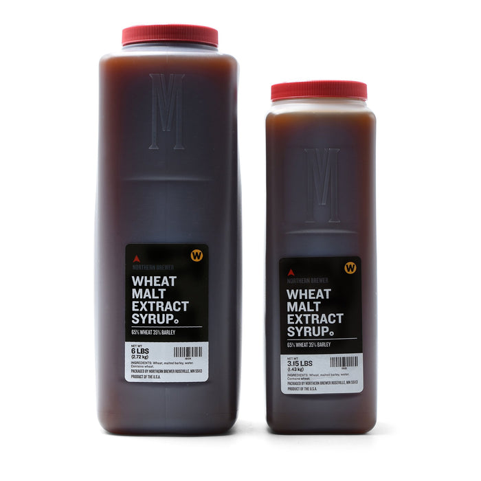 Briess wheat malt extract syrup in 3.15-pound and 1.5 pound containers