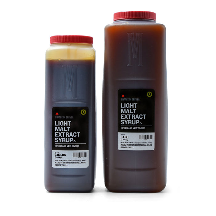 Briess organic light malt syrup in 3.15 pound and 6 pound containers