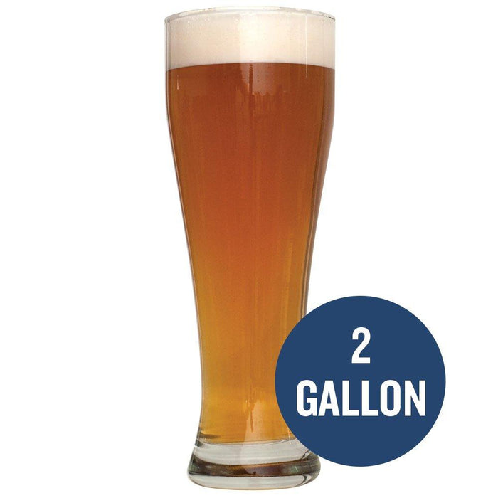 Bavarian Hefeweizen homebrew in a tall glass with the following text: 2 Gallon