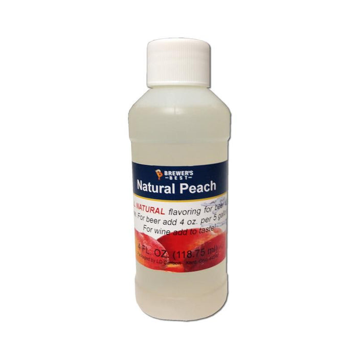 Natural Peach Flavor Extract in a 4-ounce bottle