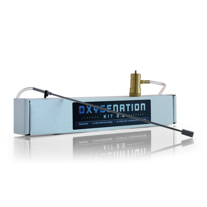 The Oxygenation Kit 2.0 box with the 16-inch aeration wand draped over it