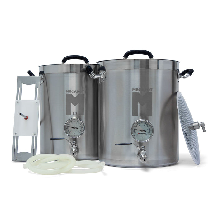 Megapot 1.2 Brew Kettle All Grain system includes With Ball Valve and Thermometer on both Kettles, Sparge Arm, Hoses and False Bottom