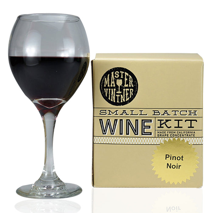 A glass of wine beside the Master Vintner Small Batch Pinot Noir Wine Recipe Kit box