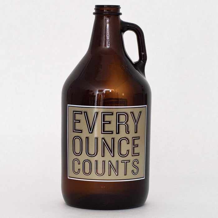 "64-ounce growler and cap with ""Every Ounce Counts"" written on the label"