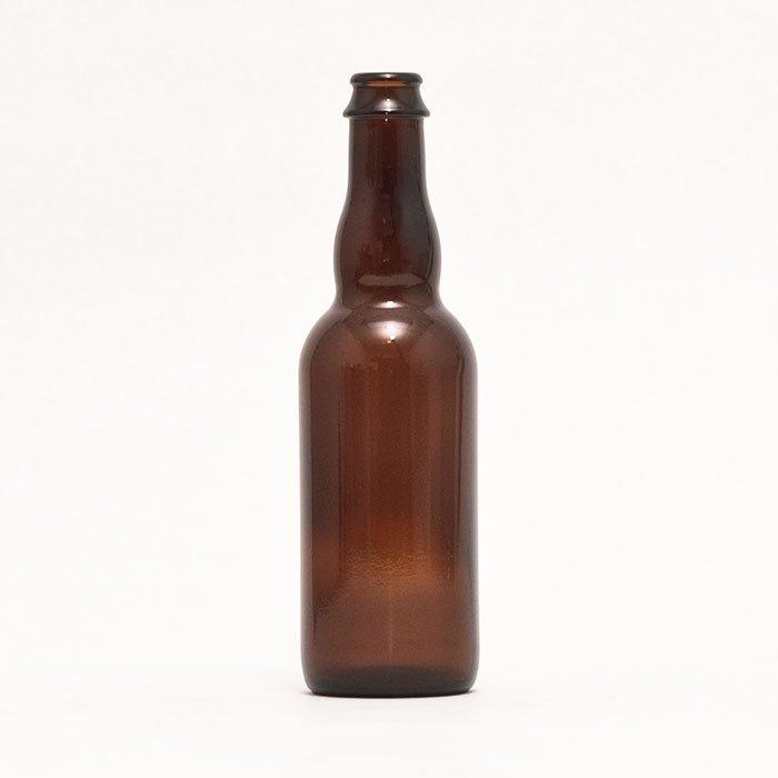Brown 375 ml Belgian-style Beer Bottle intended for use with a crown bottle cap