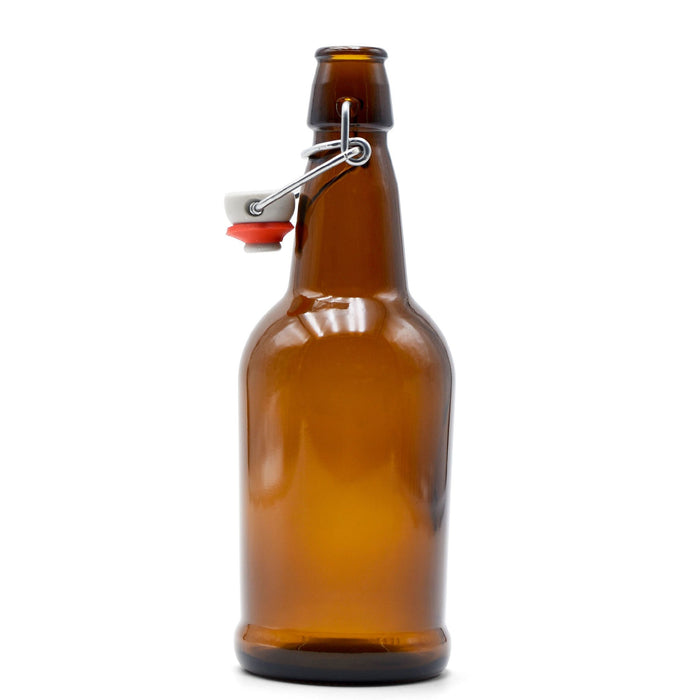 Brown Glass EZ Cap Bottle with an attached swing top