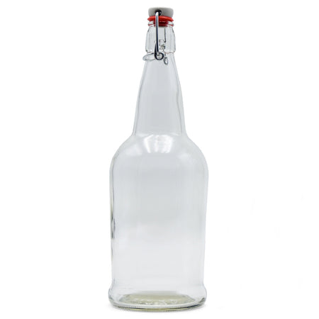 Clear Glass EZ Cap Bottle with an attached swing top closed
