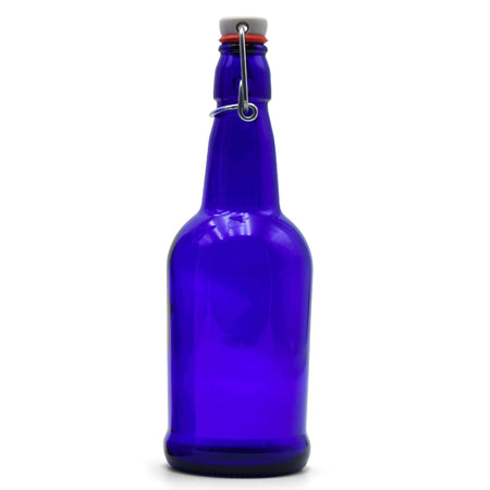 Cobalt Glass EZ Cap Bottle with an attached swing top closed