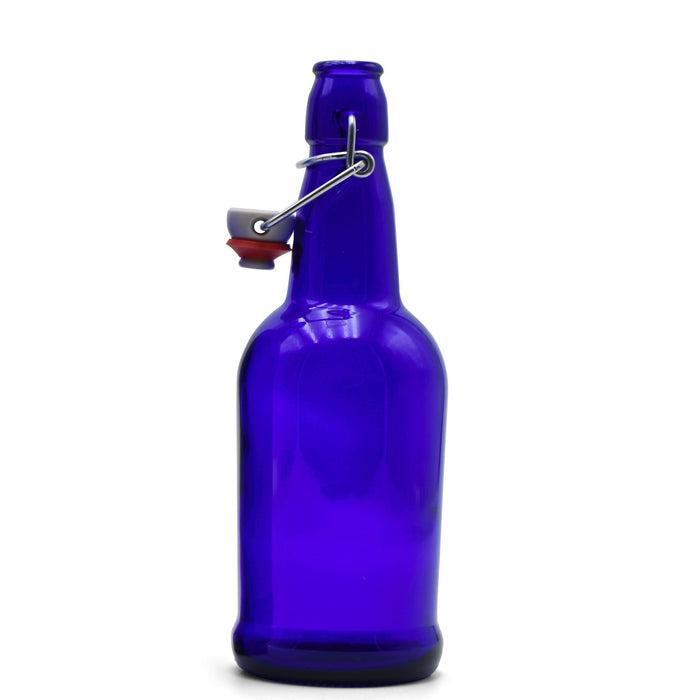 Cobalt Glass EZ Cap Bottle with an attached swing top