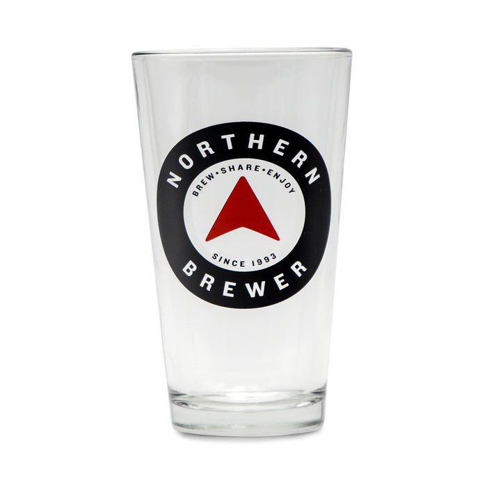 An empty Northern Brewer Logo Pint Glass