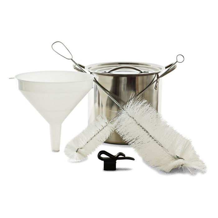 Small Batch E.Z. Brew Kit containing a funnel, stainless kettle, jug brush, bottle brush, and auto-siphon holder