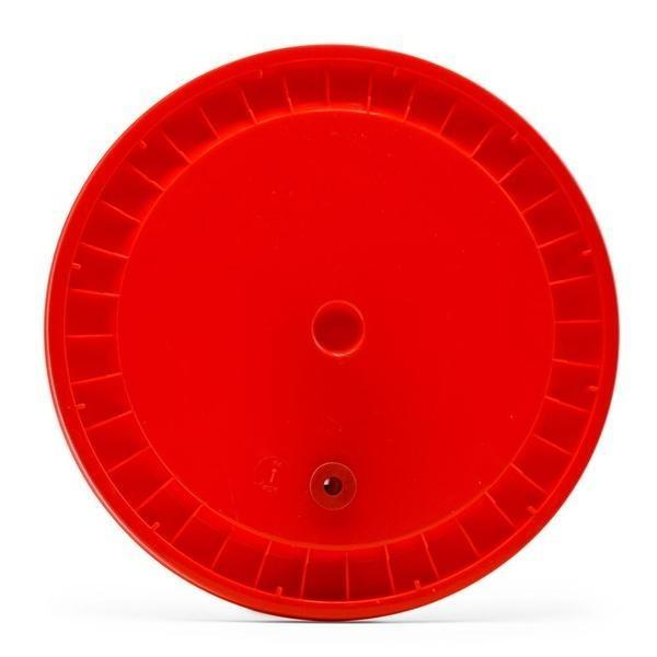 A red grommeted lid with gasket