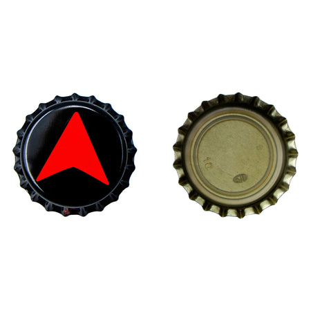 Two northern brewer bottle caps, one face-up and one face-down