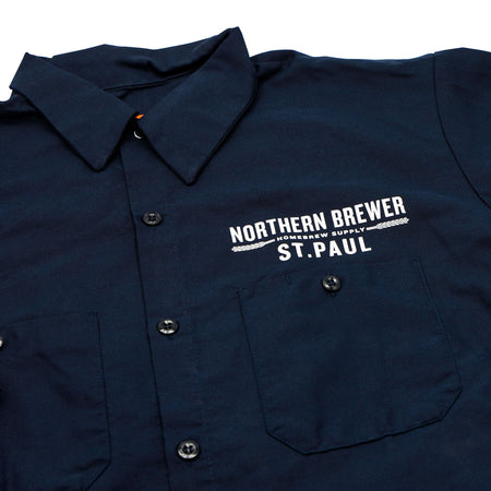 Northern Brewer St. Paul Mens Workshirt - Navy close up of front label