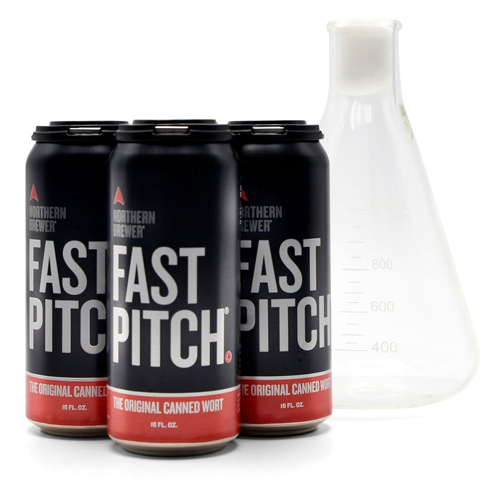Fast Pitch canned worts alongside a 1-liter flask