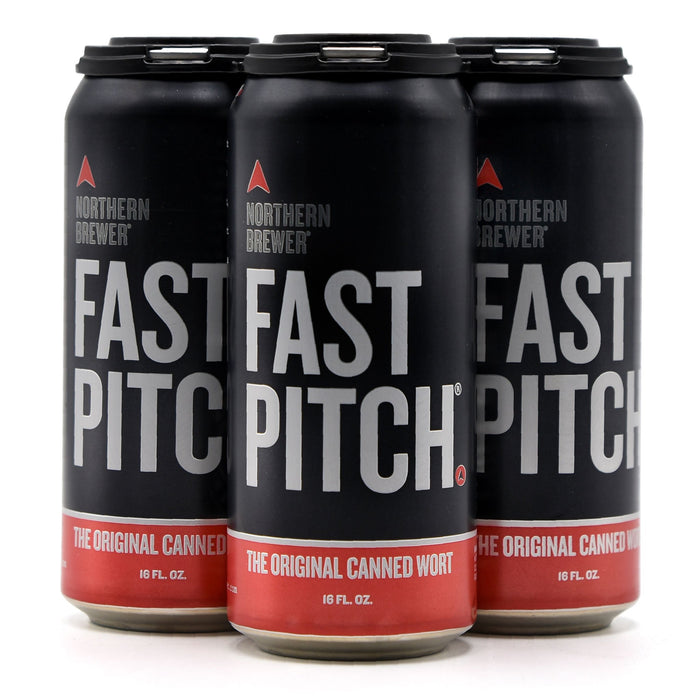 Four pack of fast pitch canned wort turned at an angle.
