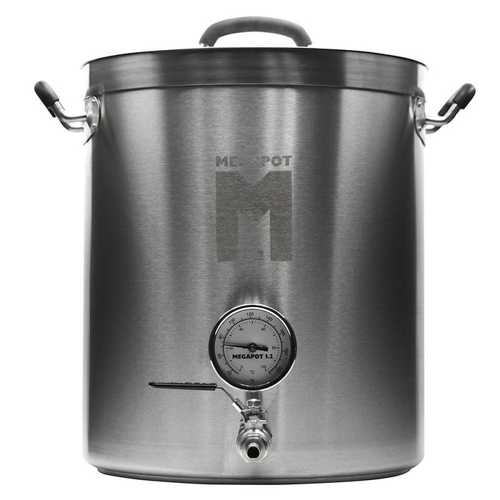 10 Gallon stainless steel megapot Brew Kettle 1.2™ with a built-in valve and thermometer