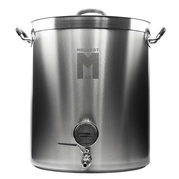 Stainless steel twenty gallon megapot 1.2 brew kettle with integrated Thermometer