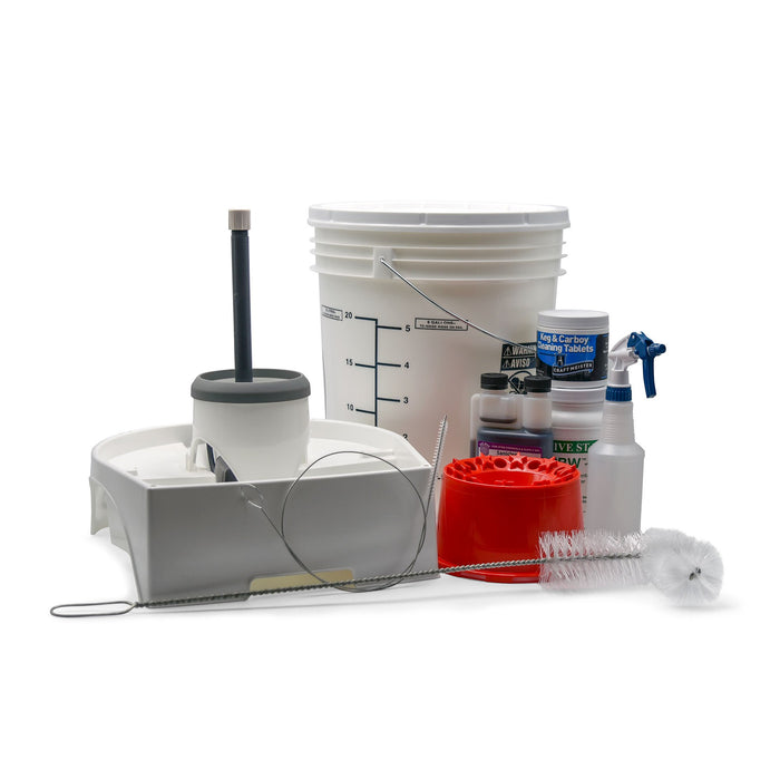 Natural Born Cleaner kit containing Mark's keg washer, saniclean, PBW, carboy dryer, carboy brush, 7.9-gallon storage bucket, and sanitizer bottle