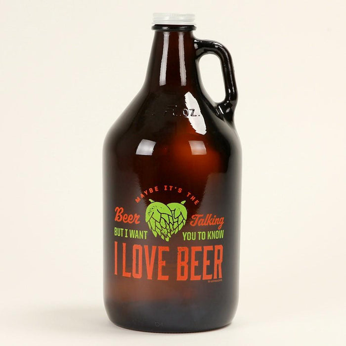 "The Beer Talking Growler with ""I love beer"" text printed on its face"