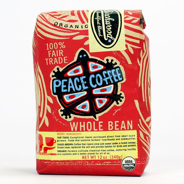 A bag of Peace Coffee's Birchwood Blend Medium Roast Whole Coffee Beans