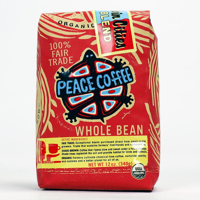 Peace Coffee's Twin Cities Blend Dark Roast Whole Coffee Bean container