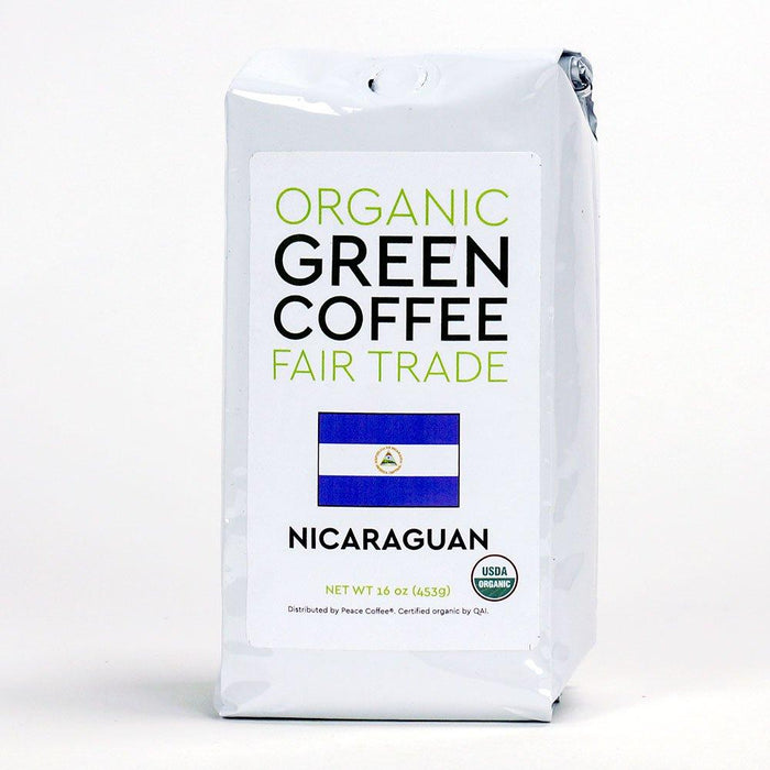 Peace Coffee's Nicaraguan Fair Trade Organic Green Coffee Beans in its container