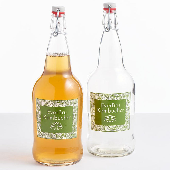 EverBru Kombucha EZ Cap Bottles w/ Swing Tops - Set of 12, 32 oz. Clear Bottles