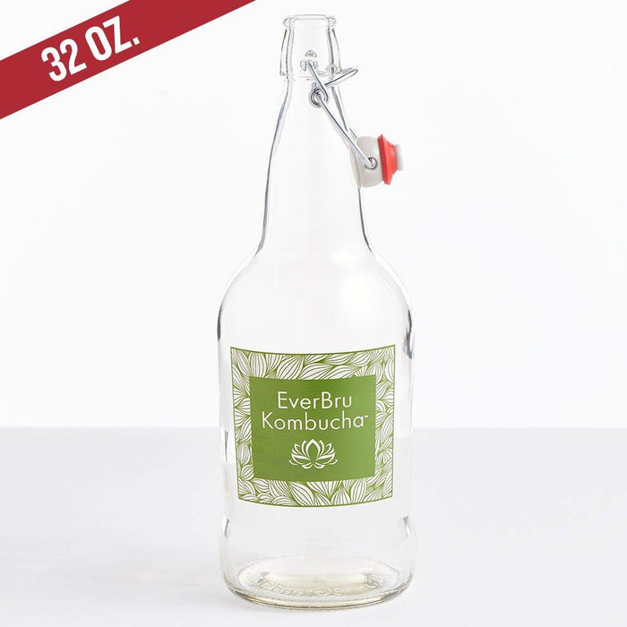 32-ounce clear EverBru Kombuch EZ Cap Bottle with a swing top