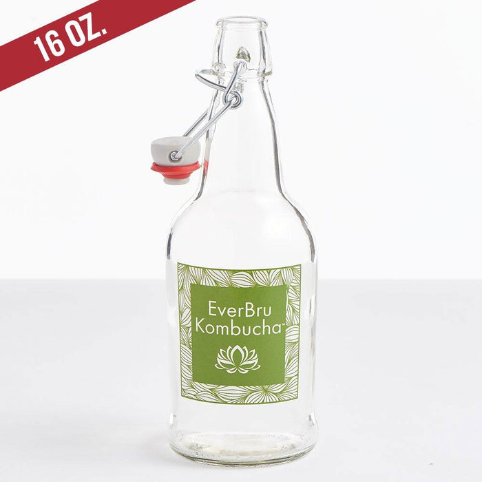 EverBru Kombuch EZ Cap Bottles w/ Swing Tops - Set of 12, 16 oz. Clear Bottles