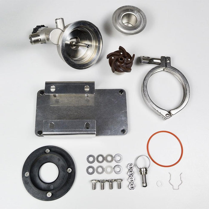 RipTide Upgrade Kit, containing the rotatable stainless-steel head and all of the nuts, bolts, washers, and connectors required for the upgrade.