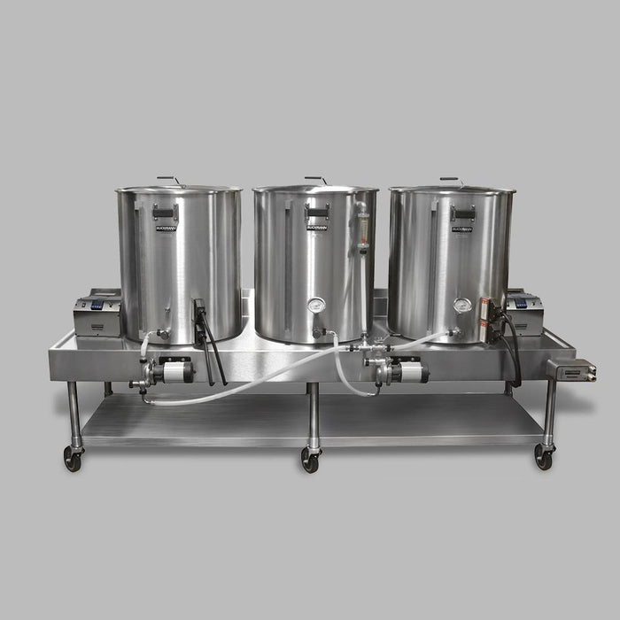 A high angle shot of the Blichmann Complete Electric HERMS Horizontal Brewing System