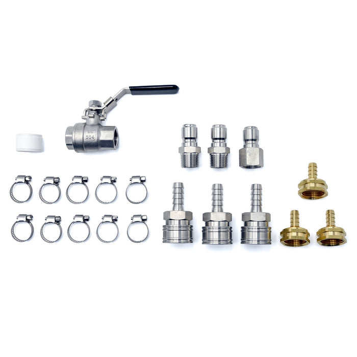 All of the parts of the Counterflow Gravity Connection Kit