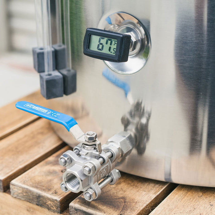 Spigot and thermometer view on the Ss Brewtech Stainless Steel Mash Tun