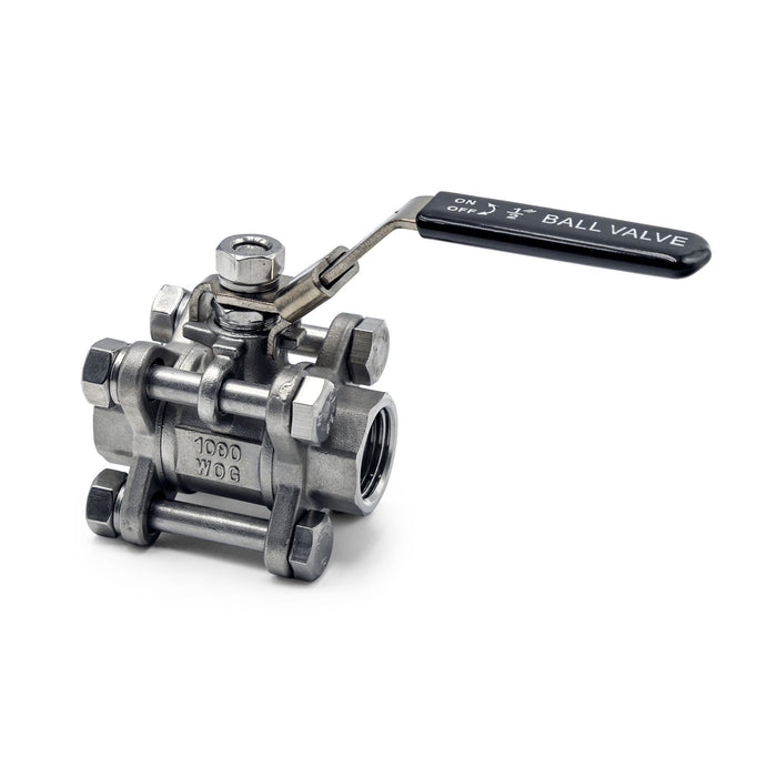 "316 Stainless Steel 3 Piece 1/2"" NPT Ball Valve Side Profile"