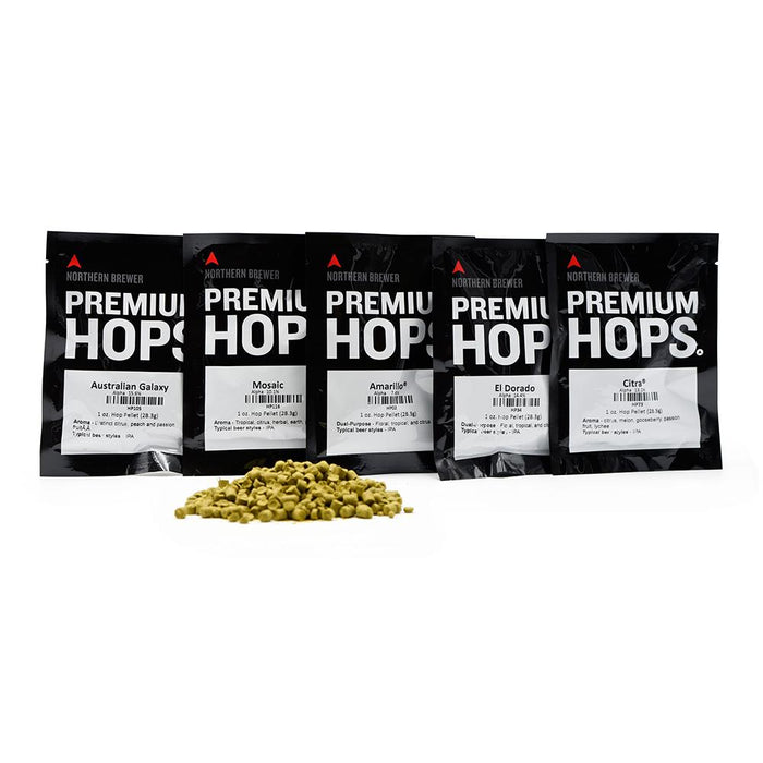 New England Style IPA Hops Sampler Pack containing Citra hops, mosaic hops, galaxy hops, El Dorado hops, and amarillo hops, with a pile of hop pellets