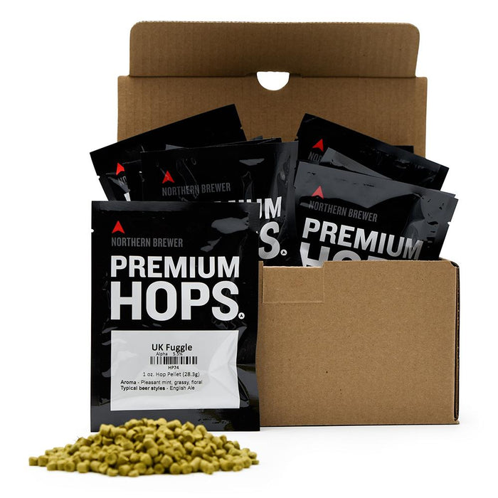 Noble Hop Sampler Pack with one hop bag in front, and a small pile of hop pellets in the foreground