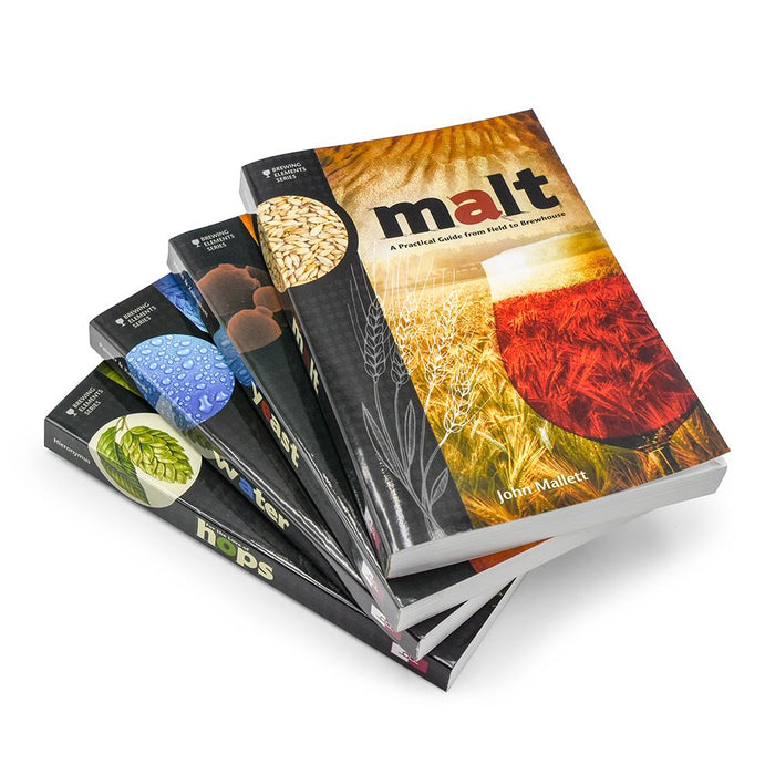 Four in-depth books about Yeast, Hops, Water, and Malt