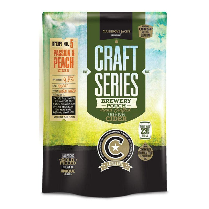 Mangrove Jack's Peach & Passionfruit Hard Cider Recipe Kit pouch