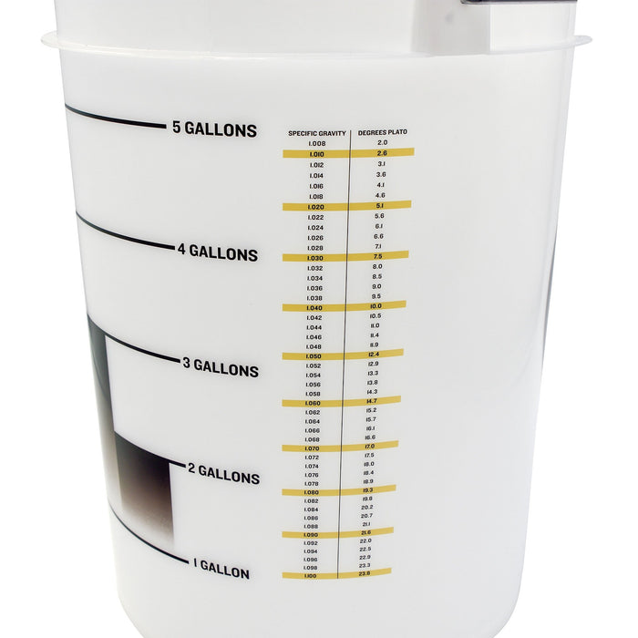 Translucent 6.5 Gallon Bucket - Drilled measurements